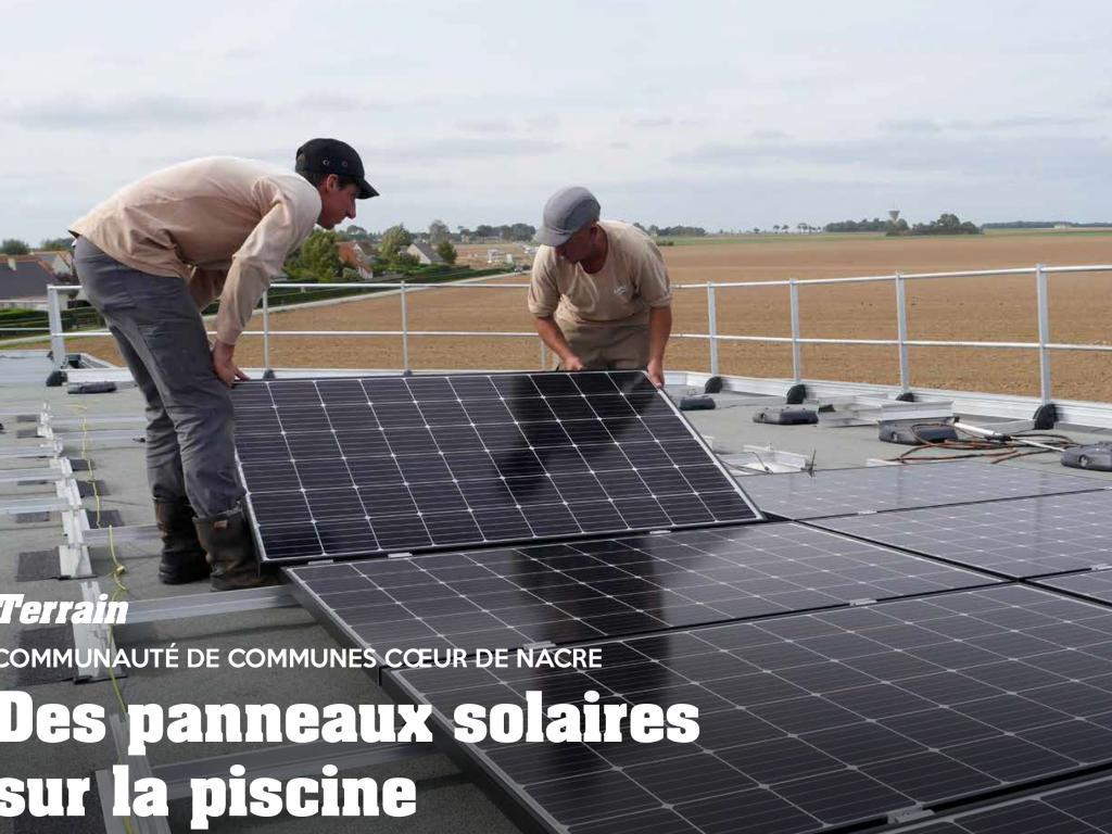 ENR - CDC COEUR DE NACRE : Des panneaux solaires sur la piscine à Douvres-la-Délivrande (source APRIM)