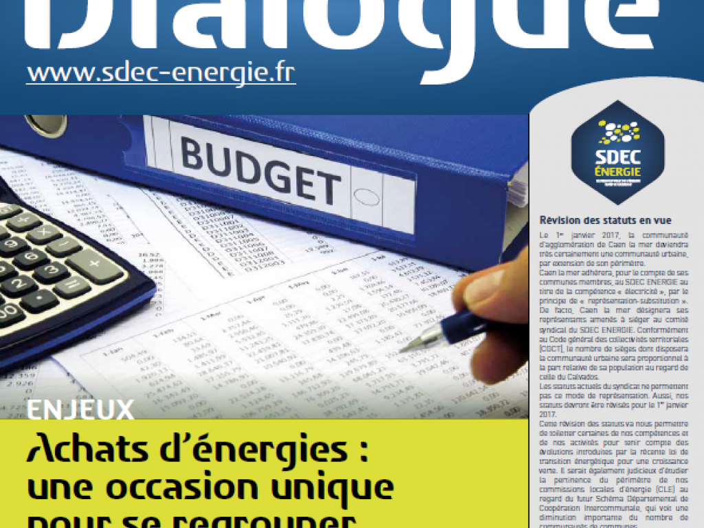 Journal d'information Dialogue 62 du SDEC ENERGIE - Mars 2016