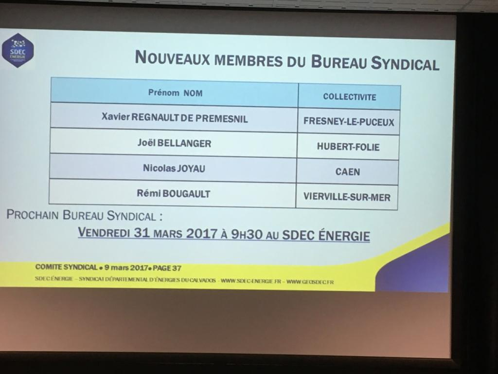 Résultat des élections de 4 membres au Bureau syndical