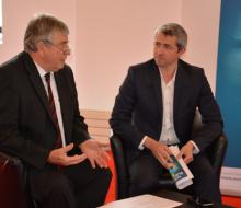 13 juin 2016 - Conférence de presse du Normandie Electrique Tour - Jacques Lelandais, Président du SDEC ENERGIE et Paul Séchaud, Directeur CAEN EVENT