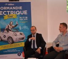 13 juin - Conférence de presse du Normandie Electrique Tour - Grégory Berkovitz, Président CAEN EVENT et Alban RAFFRAY, responsable du service Energie SDEC ENERGIE