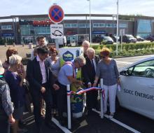 Inauguration de la borne MobiSDEC à Bernières-sur-Mer le 22 mai 2017