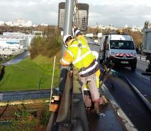 Eclairage public travaux viaduc de Calix Caen